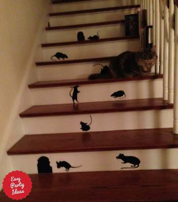 Halloween Mice Silhouette on Stairs.