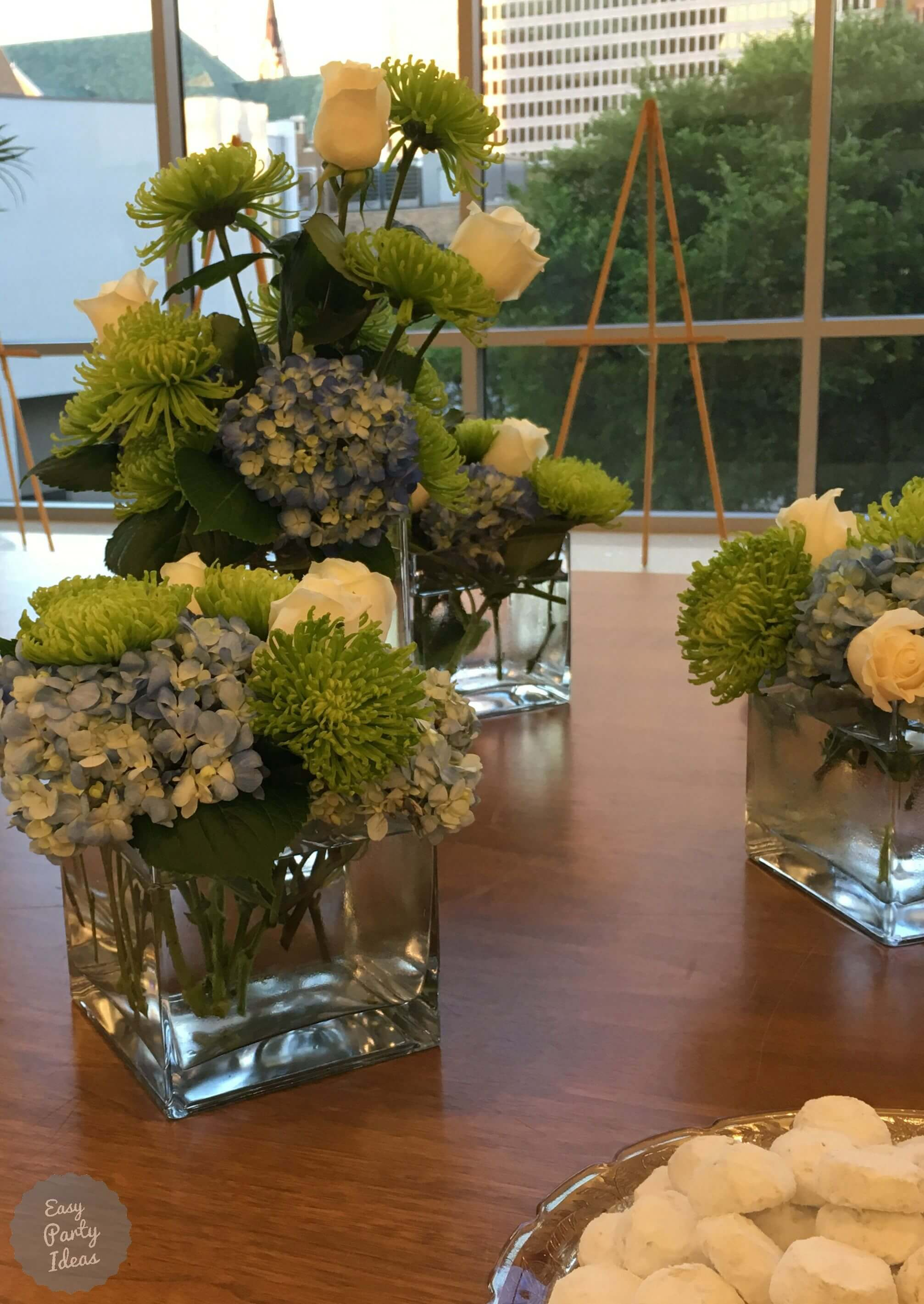 Blue Hydrangea, White Rose and Green Floral Centerpiece