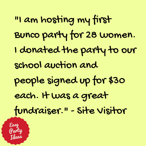 Kudos for Bunco Fundraiser Info at Easy Party Ideas and Games