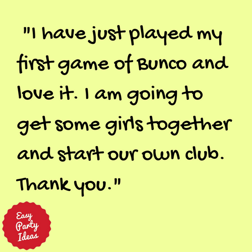 Kudos for Bunco Info at Easy Party Ideas and Games