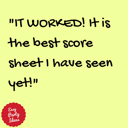 Kudos for Free Bunco Score Sheet at Easy Party Ideas and Games
