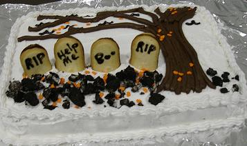 Graveyard Cake http://www.easy-party-ideas-and-games.com/graveyard-cake.html