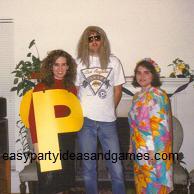 Homemade Black Eye Pea Costume, Homeade Hippie Costume, Homemade Hawaiian Costume