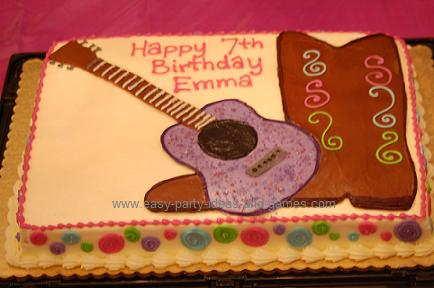 Acoustic Guitar Cake With Country Musci Singer Faces