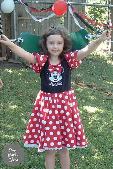 Girl in Minnie Mouse Dress